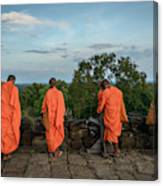 Four Monks And A Phone. Canvas Print