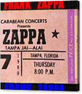 Frank Zappa 1980 Concert Ticket Canvas Print
