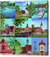 Frankenmuth Downtown Michigan Painting Collage II Canvas Print