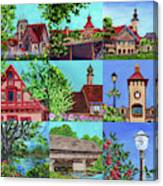 Frankenmuth Downtown Michigan Painting Collage V Canvas Print