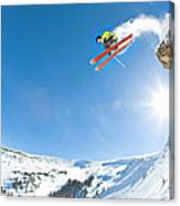 Freestyle Skier Jumping Off Cliff Canvas Print