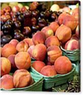 Fresh Peaches At Organic Market Canvas Print