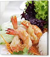 Fried Shrimps With Garlic Canvas Print