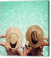 Friends By The Pool Canvas Print