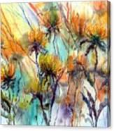 Frozen Chrysanthemums Canvas Print