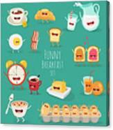 Funny Breakfast Set Comic Characters Canvas Print