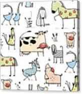 Funny Cartoon Village Domestic Animals Canvas Print