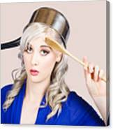 Funny Pin Up Housewife Saluting For Cooking Duties Canvas Print