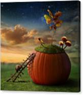 Funny Poster With Snail-astronomer And Canvas Print