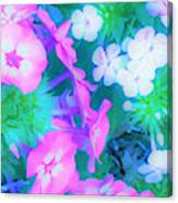 Garden Flowers In Pink, Green And Blue Canvas Print