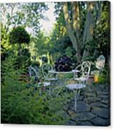 Garden Furniture On Patio Canvas Print