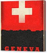 Geneva Switzerland World City Flag Skyline Canvas Print