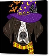 German Shorthair Halloween Witch Hat Flying Bats Canvas Print
