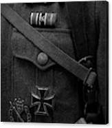 German Soldier Ww2 Black And White Canvas Print