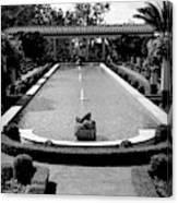 Getty Villa Massive Pool Black White Landscape  Canvas Print