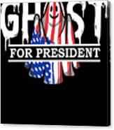 Ghost Elected Cute Halloween Spirit In American Flag Dark Canvas Print