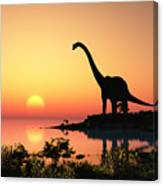 Giant Dinosaur In The Background Of The Canvas Print