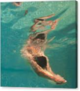 Girl Diving In The Swimming Pool Canvas Print