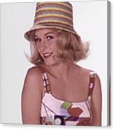 Girl In Vintage Hat Canvas Print