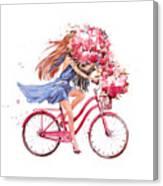 Girl On Bike.  Bicycle. Bike. Peony Canvas Print