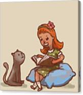 Girl Reads Book To Cat, Vector Canvas Print
