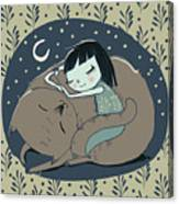 Girl Sleeps With Cat Canvas Print