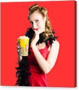 Glamorous Woman Holding Popcorn Canvas Print