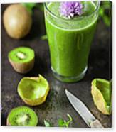 Glass Of Smoothie With Kiwi, Parsley Canvas Print