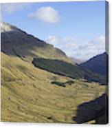 glen in highlands known as  the Rest and be Thankful Canvas Print