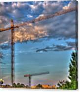 Going Up Greenville South Carolina Construction Cranes Building Art Canvas Print