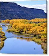 Golden Autumn Trees San Juan River Landscape Canvas Print