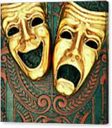 Golden Comedy And Tragedy Masks On Canvas Print