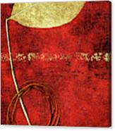Golden Leaf On Bright Red Paper Canvas Print