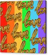 Golden Love Balloons On Rainbow Canvas Print