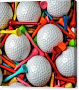 Golf Balls And Colorful Tees Canvas Print