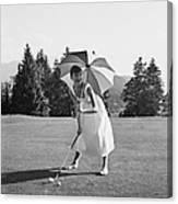 Golfing Hepburn Canvas Print