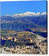 Granada, The Alhambra And Sierra Nevada From The Air Canvas Print
