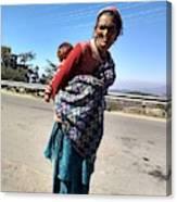 Grandchild And Grandmother Shimla Himachal Pradesh Canvas Print