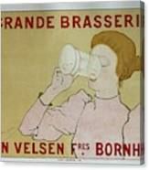 Grande Brasserie, 1894 Belgian Vintage Brewery Poster Canvas Print