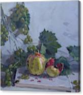 Grapes And Pomegranates Canvas Print