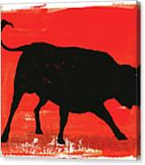 Graphic Bull Illustration Canvas Print