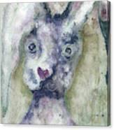 Gray Bunny Love Canvas Print