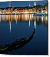 Gray Wolf Shipwreck And Stockholm Gamla Stan Fantastic Reflection In The Baltic Sea  Canvas Print