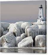 Great Lakes Lighthouse With Ice Covered Canvas Print
