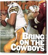 Green Bay Packers Qb Brett Favre, 1996 Nfc Divisional Sports Illustrated Cover Canvas Print