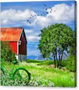 Green Bike On The Farm Canvas Print
