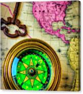 Green Compass And Old Key Canvas Print