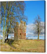 Greenknowe Tower In Winter Sun, Scottish Borders Canvas Print