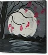Grey Moon With Red Flowers Canvas Print
