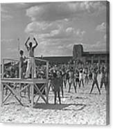 Group Of People Exercising On Beach, B&w Canvas Print